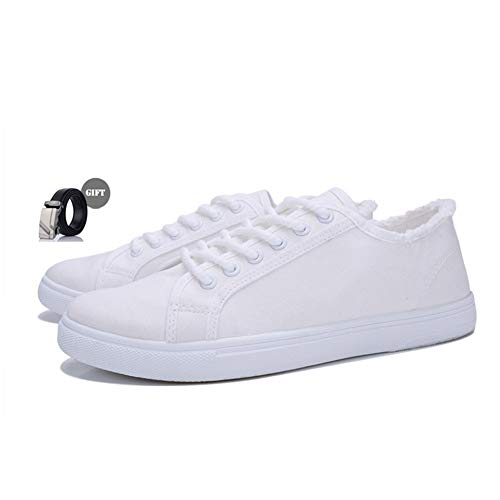 XINYIDU Low-Cut Canvas Shoes+Belt(Gift) Unisex Fashion Sneaker Ups Sports Shoes Casual Trainers (10 M US, 013White)