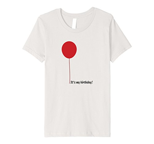 Kids It's My Birthday Red Balloon Celebrate Occasion T Shirt 8 Silver