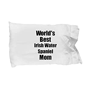Irish Water Spaniel Mom Pillowcase Worlds Best Dog Lover Funny Gift for Pet Owner Pillow Cover Case Set Standard Size 20x30 2