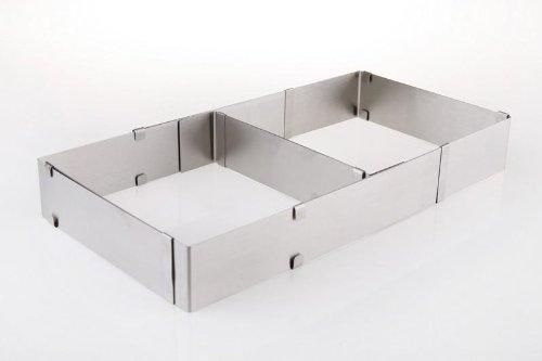 Backrahmen / Kuchenrahmen Edelstahl variabel verstellbar mit Teiler eckig