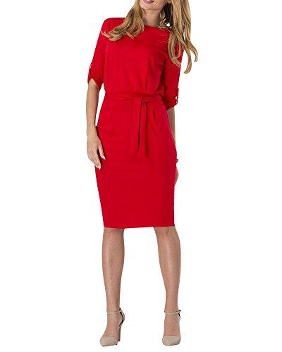 Moollyfox Mujeres Con Cuello Redondo Vestido de Lápiz Corto Manga Jersey Casual Trabajo Oficina Vestido Rojo