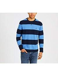 Men's Crew Neck Striped Long Sleeve Shirt