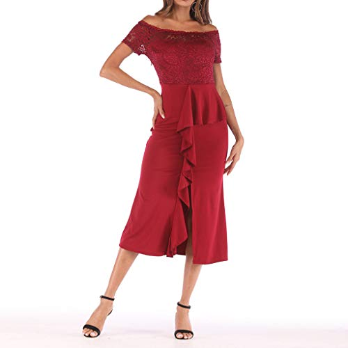 One Shoulder Lace,Youngh Fashion Women One Shoulder Lace Splice Off Shouder Casual Long Dress Red by Youngh Dress (Image #6)