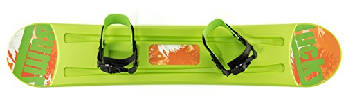 Lucky Bums Kids Boys Girls Youth Training Plastic Snowboard, 95cm, Green - Kids Snowboard Binding
