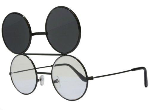 G&G Round Flip Up Sunglasses Black (Black, - Dwayne Wayne Glasses