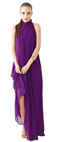 Neck Chiffon Dress Ruffle (Eyekepper Summer Chiffon Ruffle Neck Sleeveless Evening Ball Gown Long Maxi Dress)
