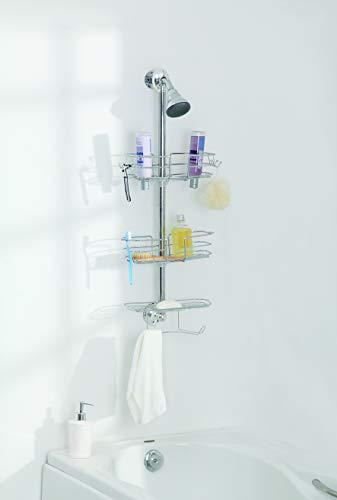 Home Zone 3-Tier Shower Caddy | Adjustable, Wire Shelf, Chrome Finish from Home Zone