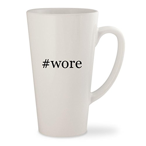 #wore - White Hashtag 17oz Ceramic Latte Mug Cup (Tie Spy Leather)