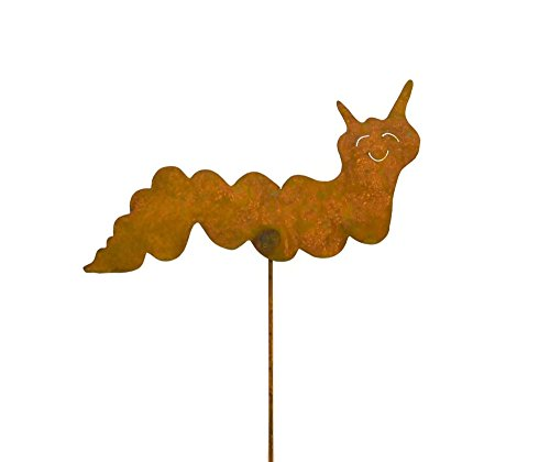 Caterpillar Rusty Metal Garden Stake
