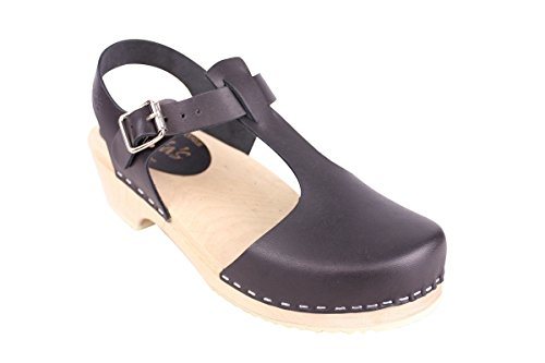 Lotta From Stockholm Low Wood T-bar Clogs in Black
