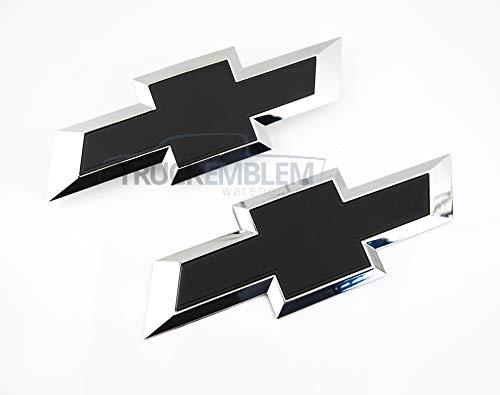 Truck Emblem Warehouse 2 New Custom Black & Chrome Silverado 1500 2016-2018 Grill Tailgate Bow TIE Set Bow Tie Grill Emblem