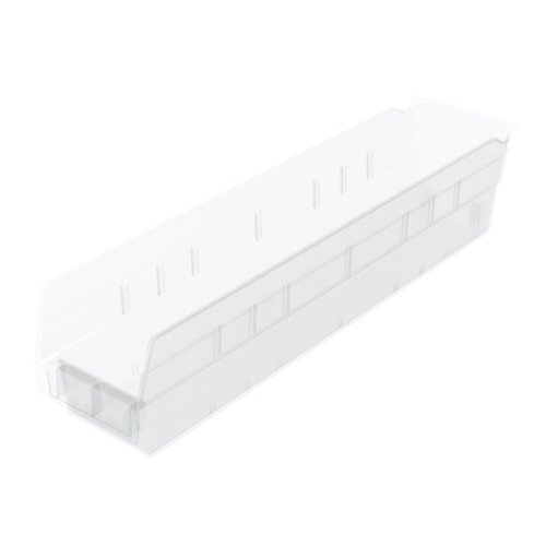 12 Hopper Bins - Akro-Mils 30128 18-Inch by 4-Inch by 4-Inch Clear Plastic Nesting Shelf Bin Box, 12-Pack