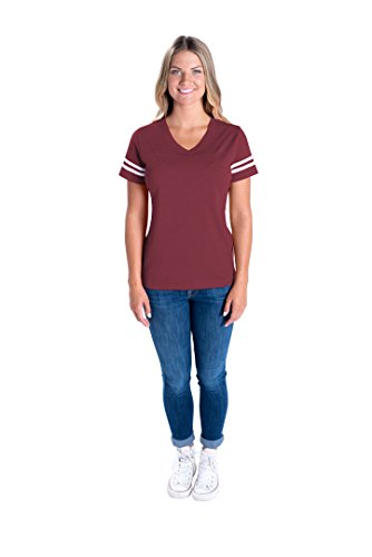 LAT-Apparel-Ladies-Football-Jersey-V-Neck-Tee-Short-SleeveT-Shirt