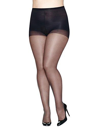 Just My Size Women`s Set of 3 Silky Sheer Run Resistant ST - Best-Seller! 4X, Black