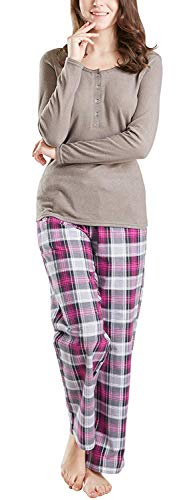 Ink+Ivy Pajamas for Women, Fleece & Cotton Woman Pajama Set - Long Sleeve Rib Henley Top & Flannel Pants Steel Gray/Red S