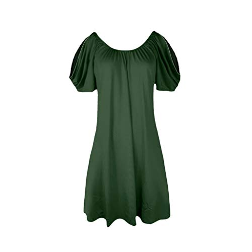 Sunhusing Ladies Solid Color Pleated Round Neck Off-Shoulder Short Sleeve Dress Summer Comfort Loose Beach Dress Green