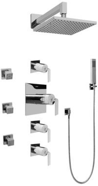 Graff GC1.222A-LM40S-SN Contemporary Square Thermosatic Set w/Body Sprays & Handshower (Rough & Trim
