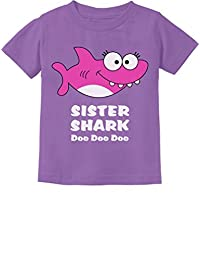 Tstars - Sister Shark Doo Doo Gift for Big Sister Toddler Kids T-Shirt