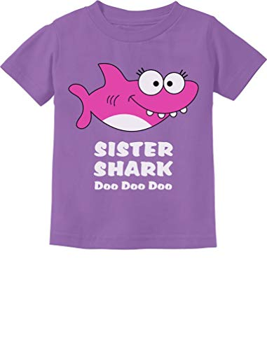 Tstars - Sister Shark Doo Doo Gift for Big Sister Toddler Kids T-Shirt 2T Lavender