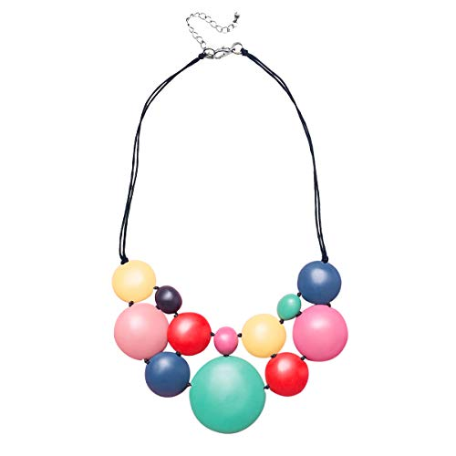 (ruby olive Women's Hand Poured Resin Multi Colored Bubblegum Statement Necklace)