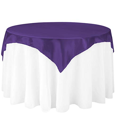 (LinenTablecloth 60-Inch Square Satin Overlay Purple)