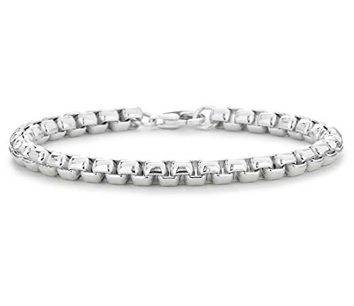 (Verona Jewelers 925 Sterling Silver 4MM 5MM Italian Solid Round Box Link Bracelet- Box Link Chain for Men, Rhodium Box Chain Bracelet, Venetian Chain, Round Link Chain Bracelet 8, 9 (8, 4MM))