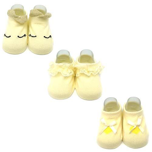 Elesa Miracle Anti-slip Baby Girl Toddler Mary Jane Socks, Newborn Baby Photography Props Anti Slip Lace Socks Value Set, Yellow (S for 0-6 Months)
