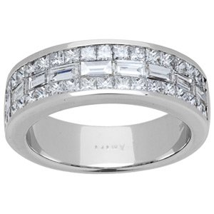 Amoro 18kt White Gold Invisible set Baguette Princess Cut Diamond (1.53 cttw, H-I Color, SI1-S!2 Clarity)