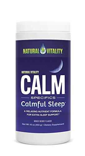 (Natural Vitality Natural Calm Calmful Sleep Magnesium Anti Stress Extra Sleep Support, Organic, Wildberry, 16 oz)