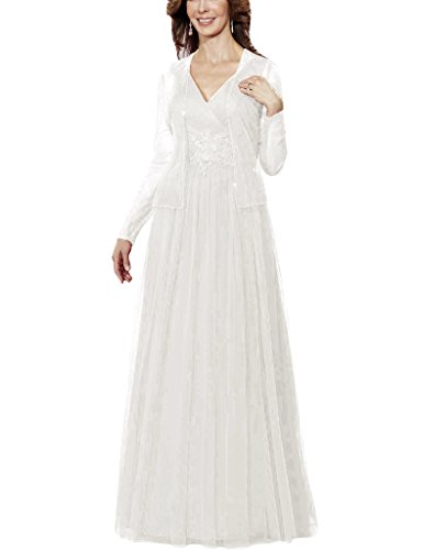 H.S.D Applique Tulle Mother Of The Bride Dresses Formal Gown Long Sleeves Jacket