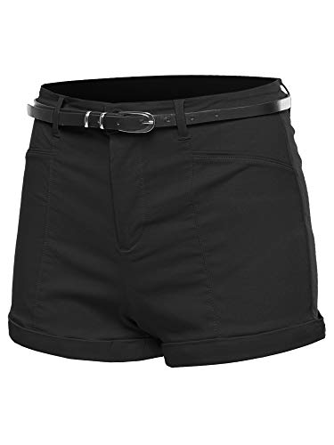Awesome21 Solid Belted Bengaline Roll-Up Cuff Shorts