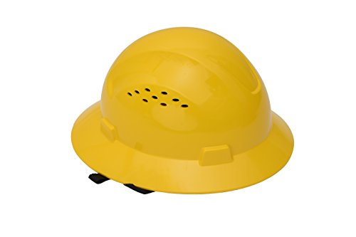 CJ Safety Full Brim Hard Hat with Fas-Trac Suspension - Vented (Yellow) by CJ Safety