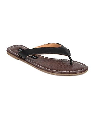 Women Thong Sandal - Flip Flop - Leatherette Pool Slide - HA65 By Wild Diva Lounge - Black Leatherette (Size: (Girls Black Hazel Shoes)