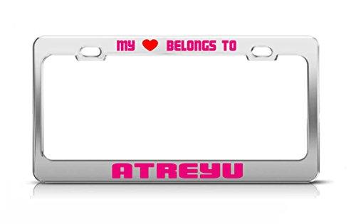 MY HEART BELONGS TO ATREYU Male Boy Names License Plate Frame Metal - Atreyu Name
