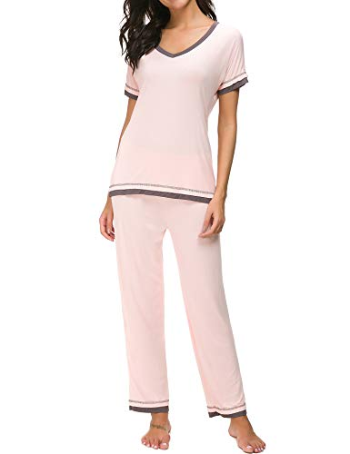 Dolay Pajama Womens Night Sleepwear Comfy Loungewear 2 Pcs Tops And Pants Set (Pink, Large)