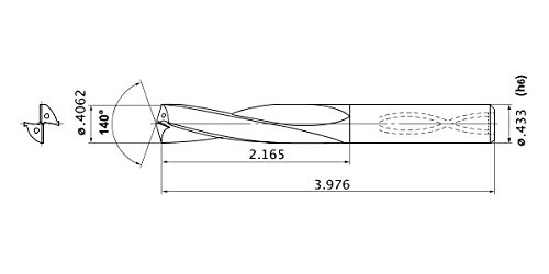 0.074 Point Length Internal Coolant 0.4062 Cutting Dia Mitsubishi Materials MAS04062MB Series MAS Solid Carbide Drill 0.4331 Shank Dia 3.976 Functional Length