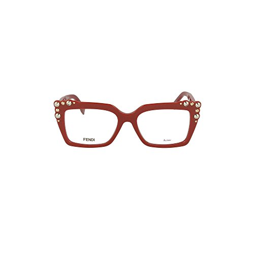 Fendi FF 0262 C9A Red Plastic Square Eyeglasses - Women Fendi Eyeglasses