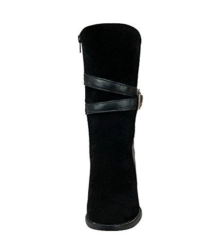 Allhqfashion Womens High Heels Solide Rits Frosted Ronde Dichte Neuslaarzen Zwart
