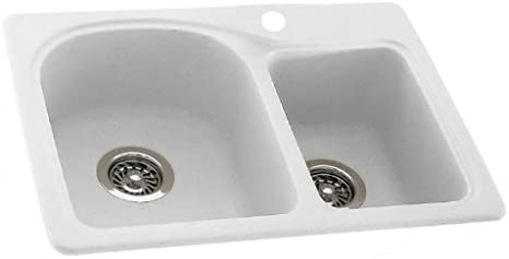 dropship code Swanstone KS02518DB.042 Solid Surface 1-Hole Dual Mount Double-Bowl Kitchen Sink 25-in L X 18-in H X 7.5-in H Gray Granite Trumbull