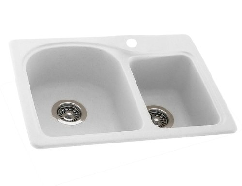 Bowl Rimming Self Hole Double (Swanstone KSDB-2518-010 25-Inch by 18-Inch Super Saver Double Bowl Kitchen Sink, White Finish)