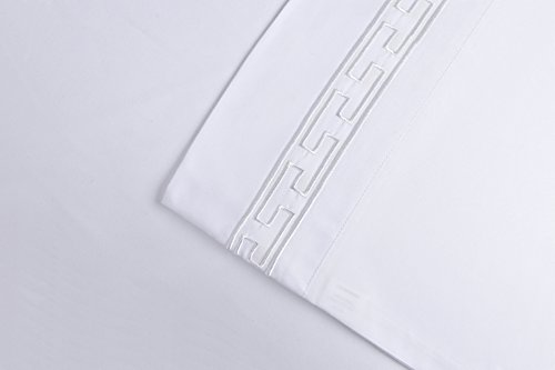 Super Soft Light Weight, 100% Brushed Microfiber 2-Piece King Pillowcases Set Wrinkle Resistant, White with White Regal Embroidery