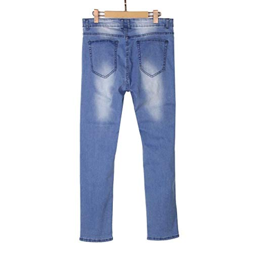 Jeans Blau Distrutti Fit Pantaloni Slim Skinny Uomo Stretch x1qvUZ