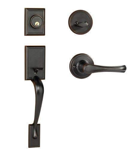 Dynasty Hardware RID-VAI-100-12P Ridgecrest Front Door Handleset, Aged Oil Rubbed Bronze with Vail Lever