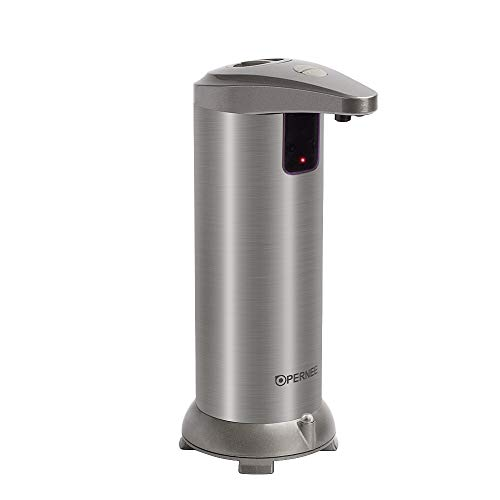 OPERNEE Soap Dispenser, Automatic Hands Free Fingerprint Resistant Stainless Steel Soap Dispenser, IR Infrared Motion Sensor Touchless Autosoap Dispenser for Kitchen Bathroom[Second Generation]