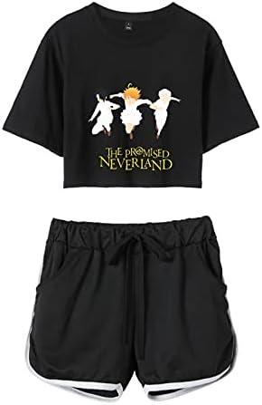 The Promised Neverland Crop Top Camiseta Conjunto de Pantalones Cortos Conjuntos Deportivos de porristas Anime Cosplay Trajes de Dos Piezas para Mujeres/niñas