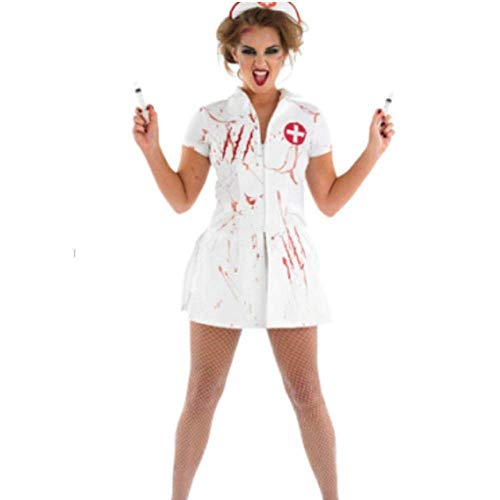 Fashion-Cos1 Halloween Womens Zombie Nurse Doctor Costume Adult Bloody Sexy Horror Dress Up for Women -