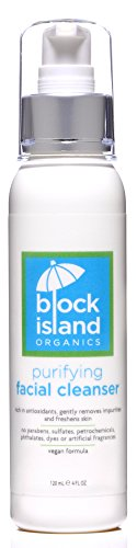 Block Island Organics - Organic Purifying Facial Cleanser with Antioxidants Vitamin C and E - Gentle Botanicals Cleanse Skin Leaving Face Refreshed and Hydrated - EWG Top Rated - 4 FL OZ