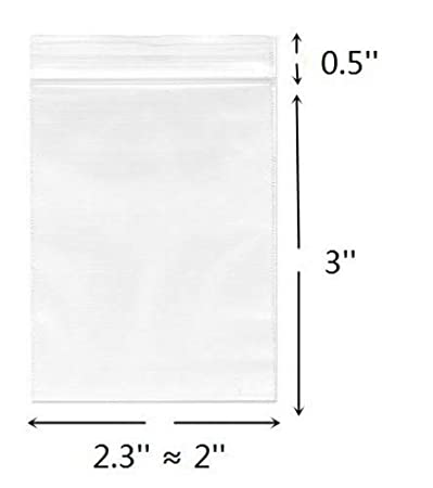 2''x 3'', (Pack of 100) Small Clear Poly Zipper Bags 2 Mil Reclosable Ziplock Storage Plastic Bag for Jewelry, Candy 2''x 3'' Cambiar E18