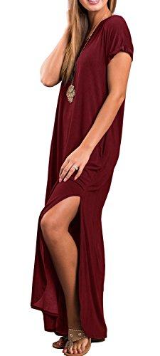 Occasionnels Poche Lâche Robe Longue De Femmes Manches Courtes Robes Maxi Fractionnés Vin Rouge