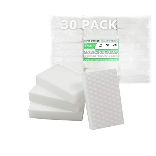 (EXTRA STRENGTH Value Deal, MAGIC SPONGE CLEANERS ERASER PADS - WHITE - ALL PURPOSE - LONG LASTING (30 XS Eraser)